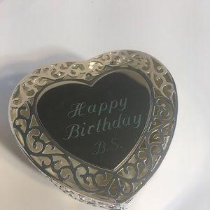 """Vintage """"Happy Birthday B.S."""" Silver Plt Gift Box!"""
